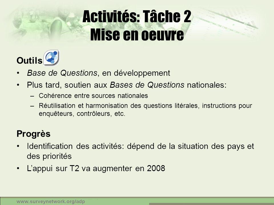 Activités: Tâche 2 Mise en oeuvre Outils Base de Questions, en développement Plus tard, soutien aux Bases de Questions nationales: –Cohérence entre so