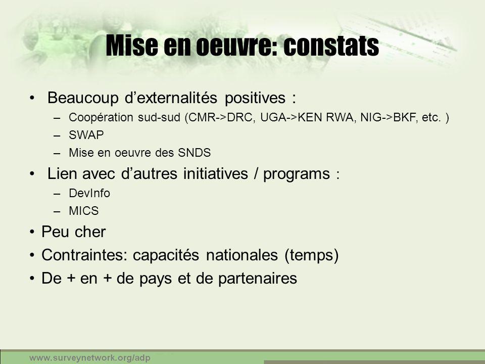 Mise en oeuvre: constats Beaucoup dexternalités positives : –Coopération sud-sud (CMR->DRC, UGA->KEN RWA, NIG->BKF, etc. ) –SWAP –Mise en oeuvre des S