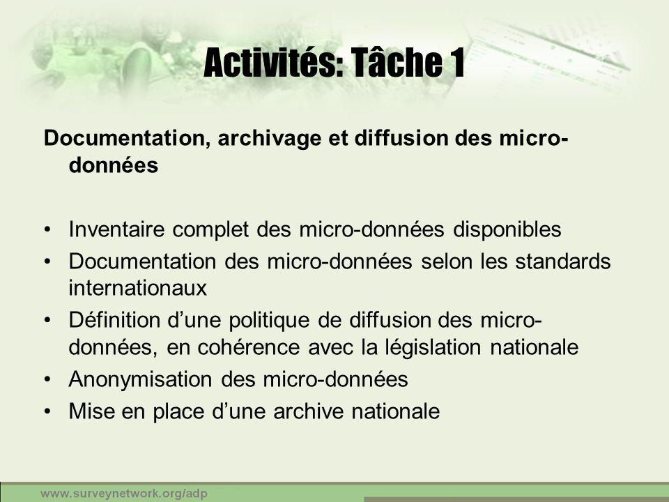 Activités: Tâche 1 Documentation, archivage et diffusion des micro- données Inventaire complet des micro-données disponibles Documentation des micro-d