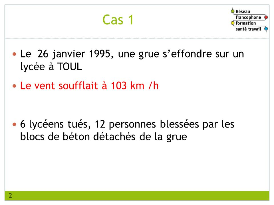 Le 26 janvier 1995, une grue seffondre sur un lycée à TOUL Le vent soufflait à 103 km /h 6 lycéens tués, 12 personnes blessées par les blocs de béton