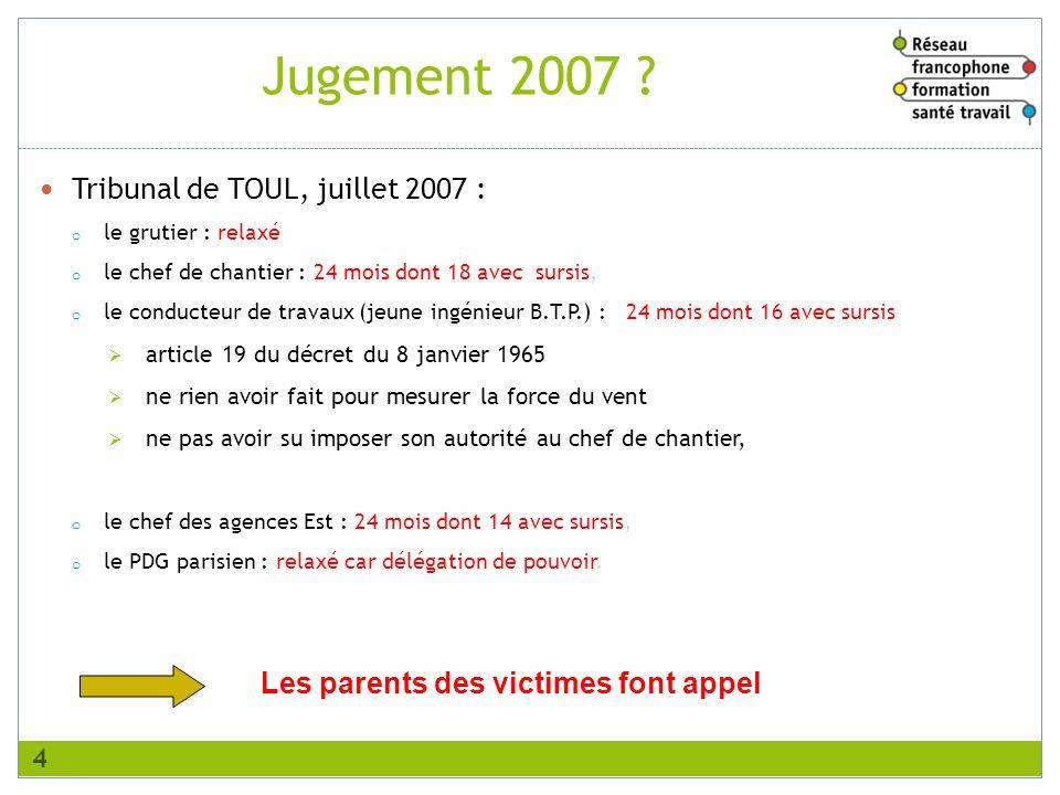 Tribunal de TOUL, juillet 2007 : o le grutier : relaxé o le chef de chantier : 24 mois dont 18 avec sursis, o le conducteur de travaux (jeune ingénieu