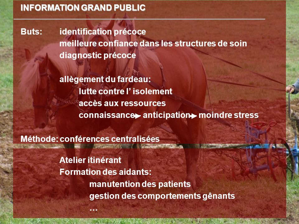 Atelier itinérant Formation des aidants: manutention des patients gestion des comportements gênants … INFORMATION GRAND PUBLIC Buts: identification pr