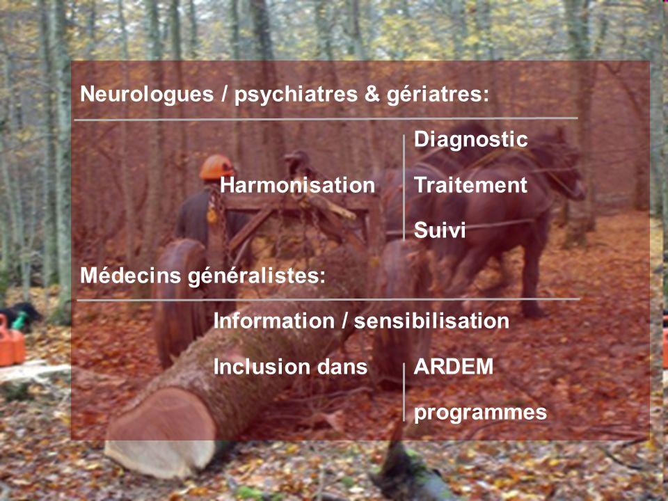 Neurologues / psychiatres & gériatres: Diagnostic Harmonisation Traitement Suivi Médecins généralistes: Information / sensibilisation Inclusion dansAR