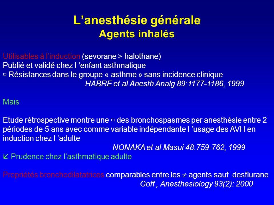 Anesthésie générale Effet bronchodilatateur des agents halogénés l 994 Homme Chien Contrôle Sevo iso 10 6 1 % de la résistance basale Thiopental isoflurane halothane sevoflurane