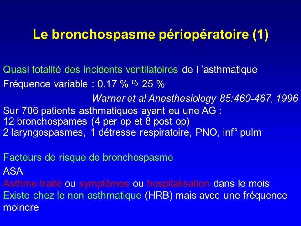 Le bronchospasme périopératoire (2) Stimuli déclenchants : - Allergènes : histaminolibération immuno induite ou non spécifique : agents anesthésiques - Mécanisme neurogène (vagal) : stimuli viscéraux, intubation, ventilation avec gaz froids et secs, µ inhalations Pourquoi est il si soudain sous AG .