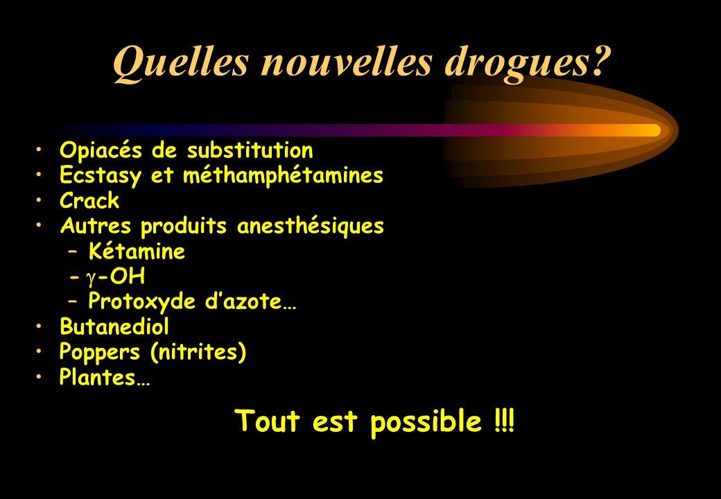 Une loterie : le comprimé 651 échantillons : 43 molécules identifiées MDMA : 41 % de 0,2 à 97 % par échantillon Amphétamines : 6 % Caféine, Cocaïne, LSD, THC : 5 % Chloroquine : 4 %, Kétamine, -OH, héroïne… Galliot, Psychotropes, 2000Galliot, Presse Med, 1999 Sherlock, J Accid Emerg Med, 1999 Wolff, Lancet, 1995 « Users of esctasy… a form of lottery »