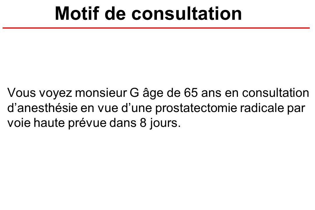Motif de consultation Vous voyez monsieur G âge de 65 ans en consultation danesthésie en vue dune prostatectomie radicale par voie haute prévue dans 8