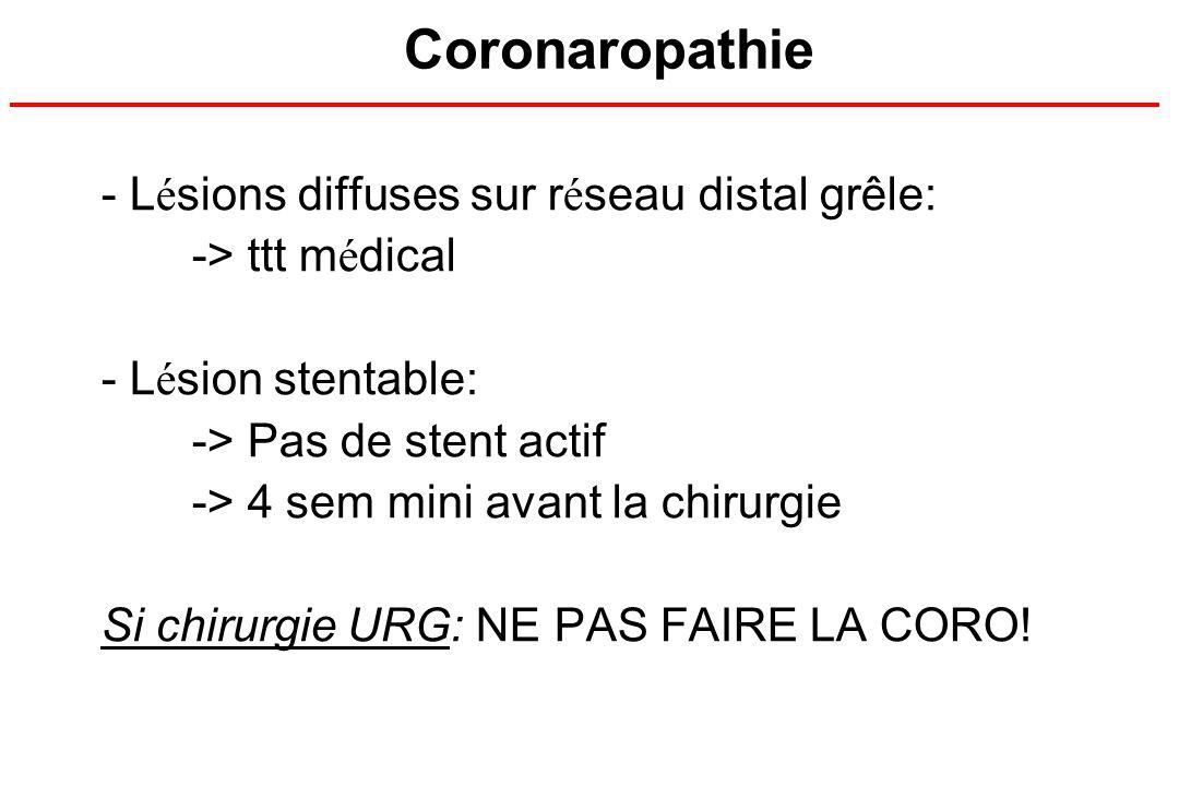 Coronaropathie - L é sions diffuses sur r é seau distal grêle: -> ttt m é dical - L é sion stentable: -> Pas de stent actif -> 4 sem mini avant la chi