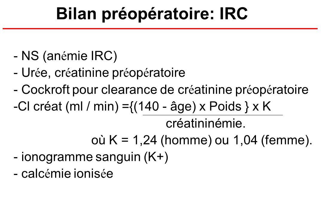 - NS (an é mie IRC) - Ur é e, cr é atinine pr é op é ratoire - Cockroft pour clearance de cr é atinine pr é op é ratoire -Cl créat (ml / min) ={(140 -