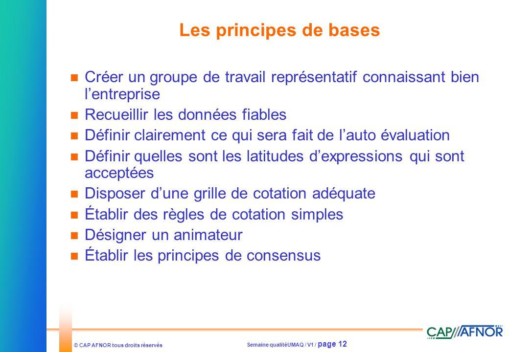 Semaine qualitéUMAQ / V1 / page 12 © CAP AFNOR tous droits réservés Les principes de bases Créer un groupe de travail représentatif connaissant bien l