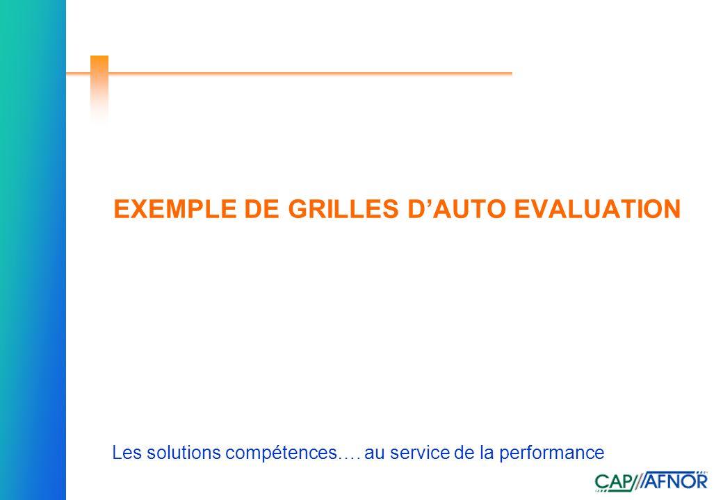 Référence Les solutions compétences…. au service de la performance EXEMPLE DE GRILLES DAUTO EVALUATION