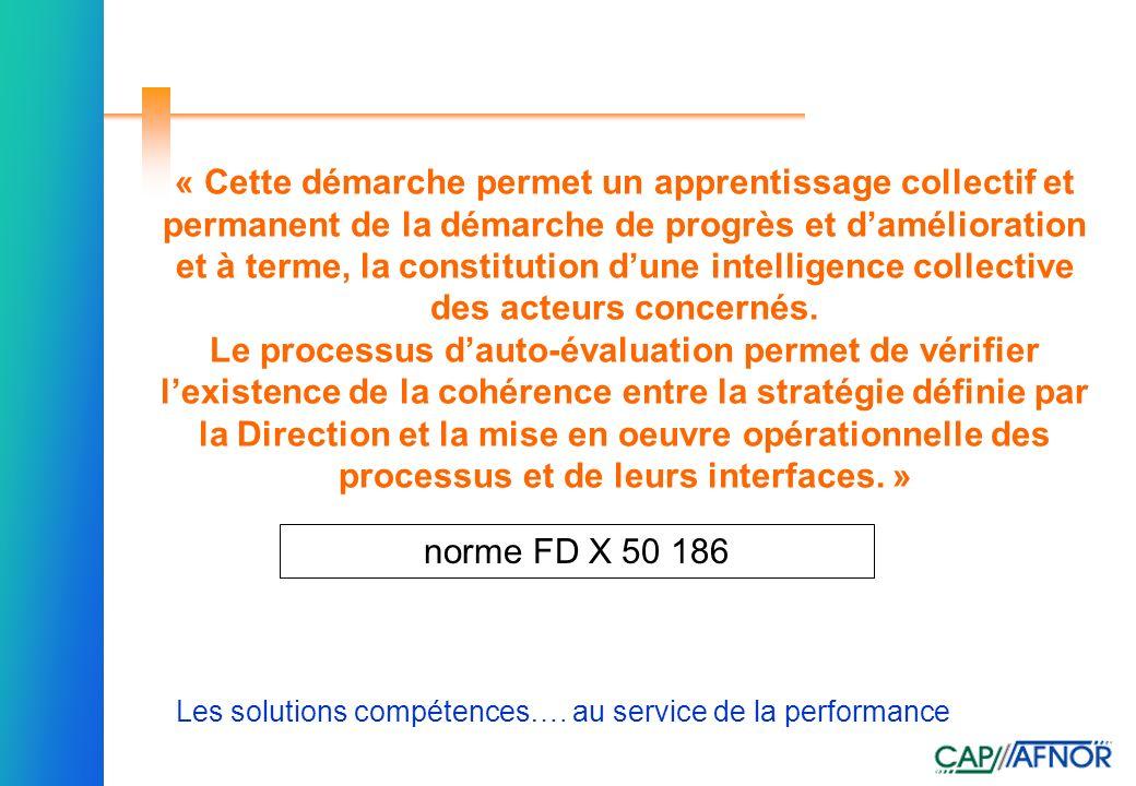 Référence Les solutions compétences…. au service de la performance « Cette démarche permet un apprentissage collectif et permanent de la démarche de p