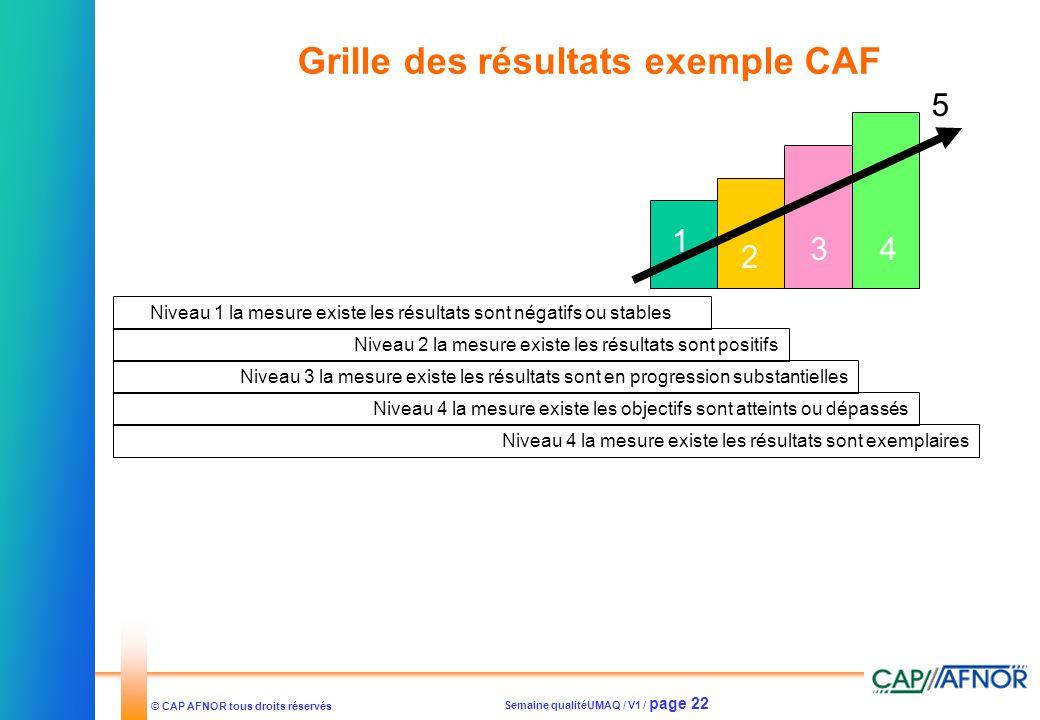 Semaine qualitéUMAQ / V1 / page 22 © CAP AFNOR tous droits réservés Grille des résultats exemple CAF Niveau 1 la mesure existe les résultats sont néga