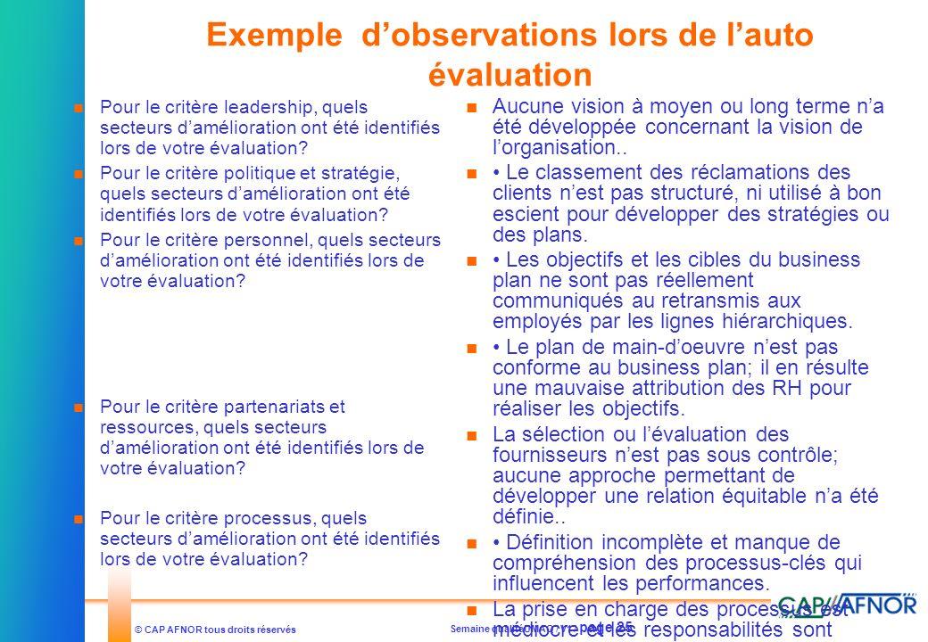 Semaine qualitéUMAQ / V1 / page 25 © CAP AFNOR tous droits réservés Exemple dobservations lors de lauto évaluation Pour le critère leadership, quels s