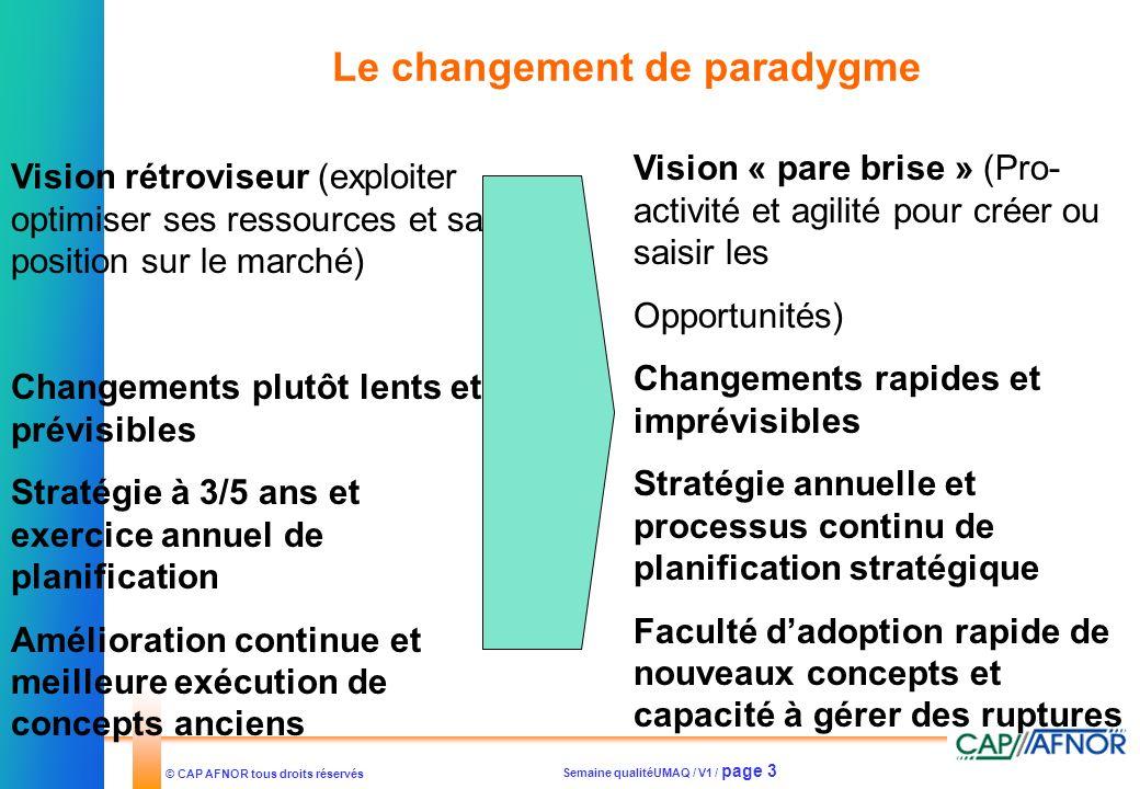 Semaine qualitéUMAQ / V1 / page 3 © CAP AFNOR tous droits réservés Le changement de paradygme Vision rétroviseur (exploiter optimiser ses ressources e