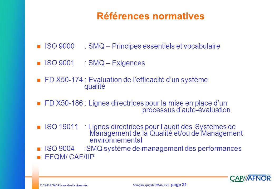 Semaine qualitéUMAQ / V1 / page 31 © CAP AFNOR tous droits réservés Références normatives ISO 9000: SMQ – Principes essentiels et vocabulaire ISO 9001
