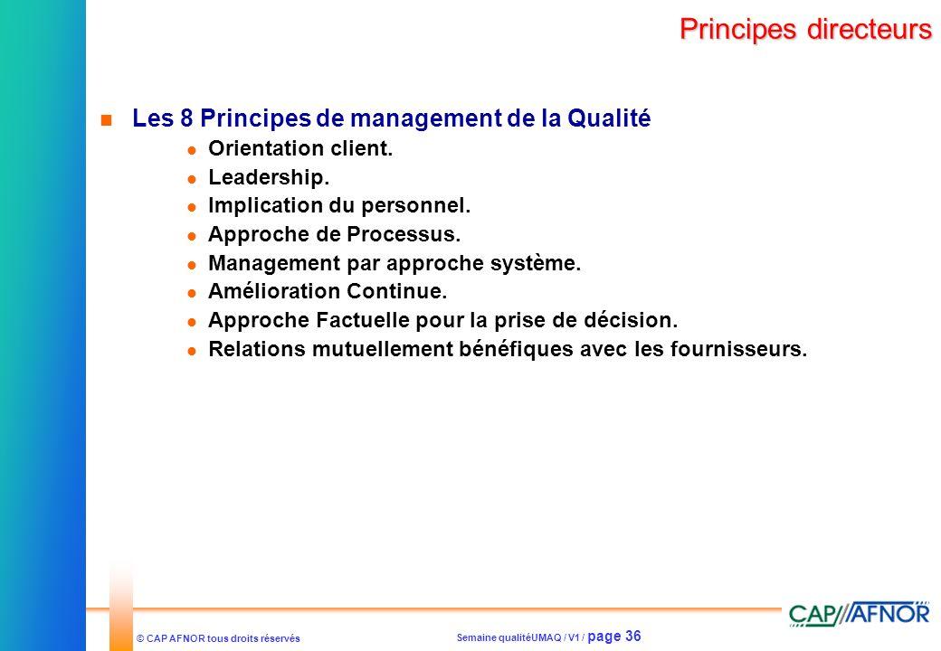 Semaine qualitéUMAQ / V1 / page 36 © CAP AFNOR tous droits réservés Principes directeurs Les 8 Principes de management de la Qualité Orientation clien