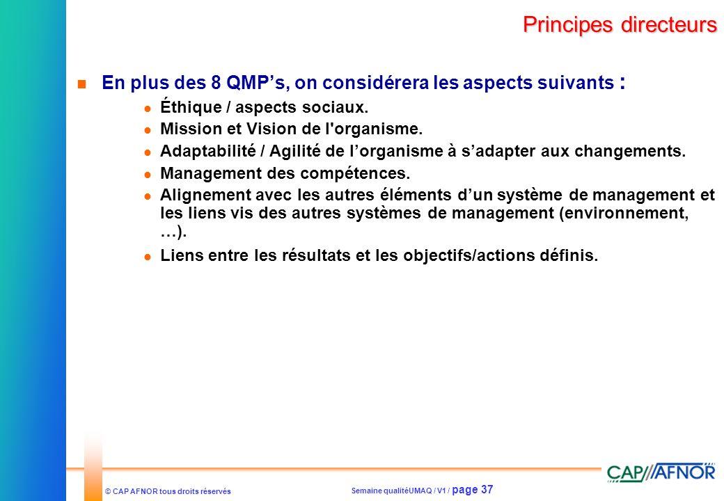 Semaine qualitéUMAQ / V1 / page 37 © CAP AFNOR tous droits réservés Principes directeurs En plus des 8 QMPs, on considérera les aspects suivants : Éth