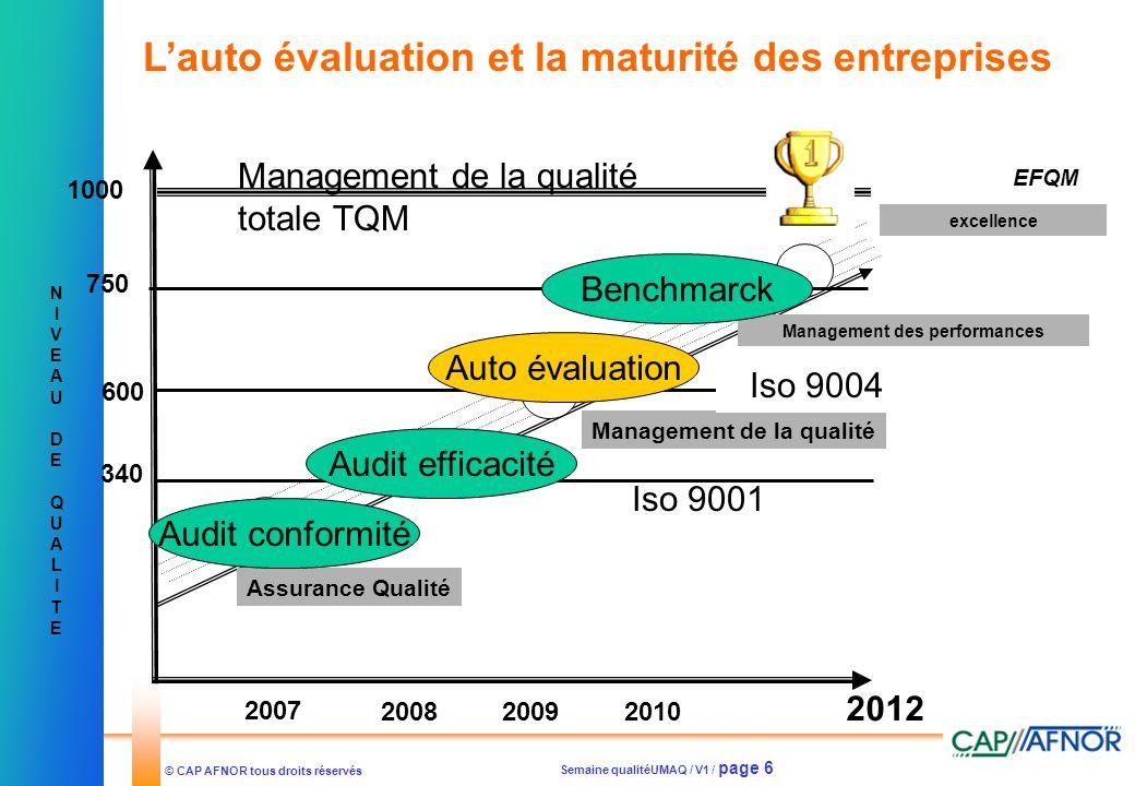 Semaine qualitéUMAQ / V1 / page 6 © CAP AFNOR tous droits réservés NIVEAUDEQUALITENIVEAUDEQUALITE Assurance Qualité Management de la qualité excellenc