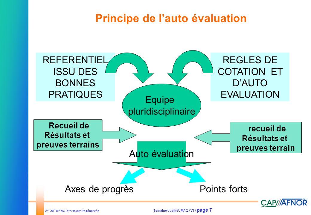 Semaine qualitéUMAQ / V1 / page 8 © CAP AFNOR tous droits réservés Le rôle de lauto-évaluation L auto-évaluation consiste en une évaluation rigoureuse, habituellement effectuée par la propre direction de l organisme.