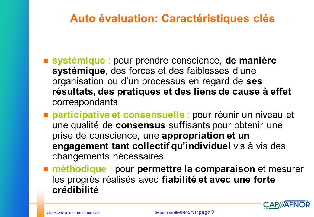 Semaine qualitéUMAQ / V1 / page 9 © CAP AFNOR tous droits réservés Auto évaluation: Caractéristiques clés systémique : pour prendre conscience, de man