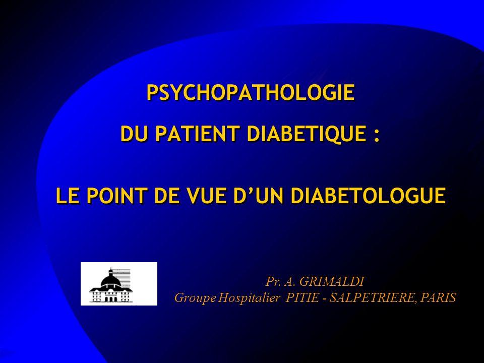 PSYCHOPATHOLOGIE DU PATIENT DIABETIQUE : LE POINT DE VUE DUN DIABETOLOGUE Pr. A. GRIMALDI Groupe Hospitalier PITIE - SALPETRIERE, PARIS