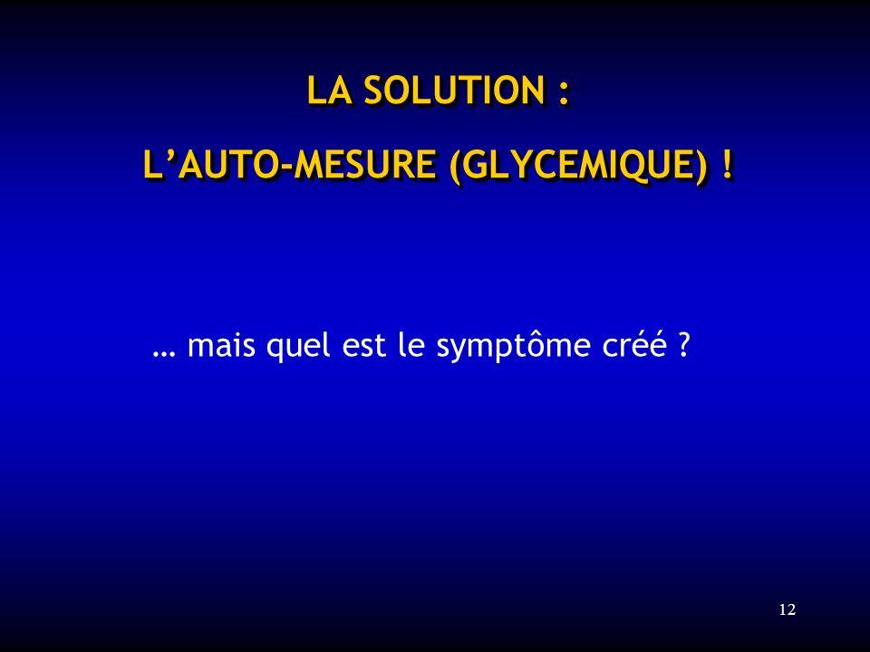 12 LA SOLUTION : LAUTO-MESURE (GLYCEMIQUE) ! … mais quel est le symptôme créé ?