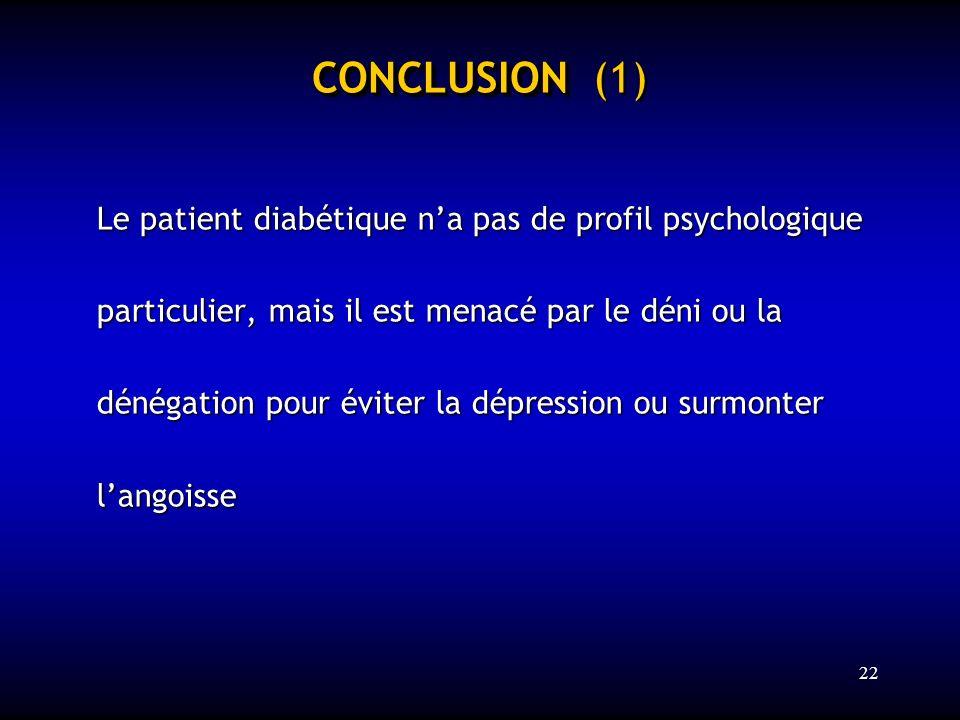 22 CONCLUSION CONCLUSION (1) Le patient diabétique na pas de profil psychologique particulier, mais il est menacé par le déni ou la dénégation pour év