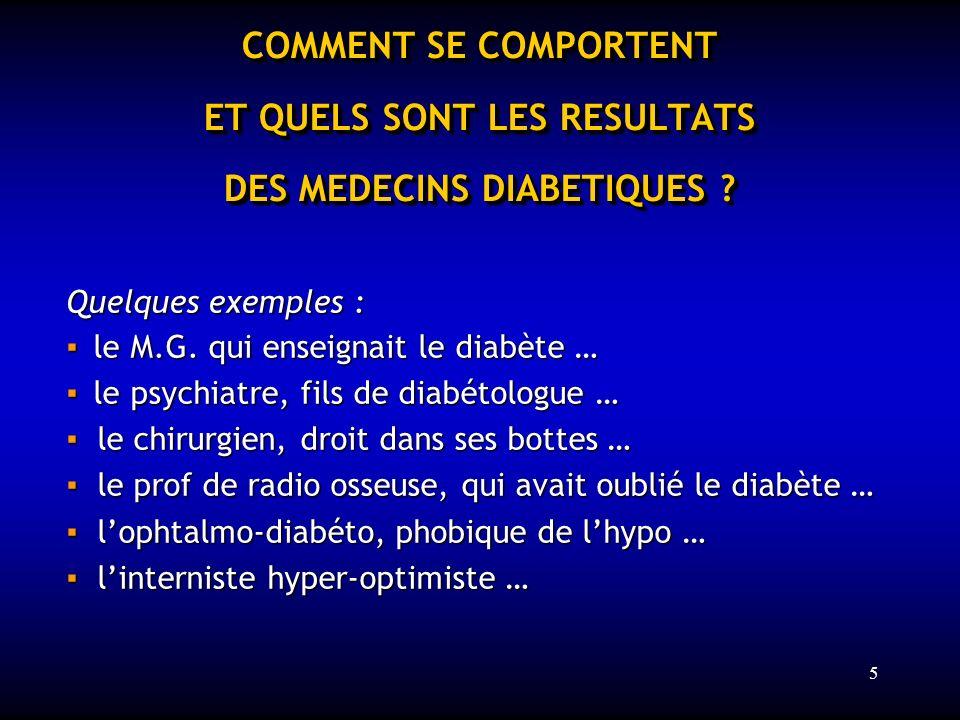 5 COMMENT SE COMPORTENT ET QUELS SONT LES RESULTATS DES MEDECINS DIABETIQUES ? Quelques exemples : le M.G. qui enseignait le diabète … le M.G. qui ens