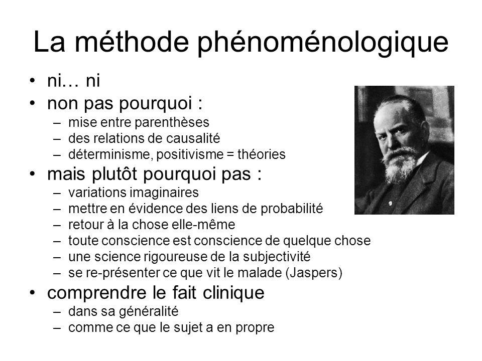 La méthode phénoménologique ni… ni non pas pourquoi : –mise entre parenthèses –des relations de causalité –déterminisme, positivisme = théories mais p
