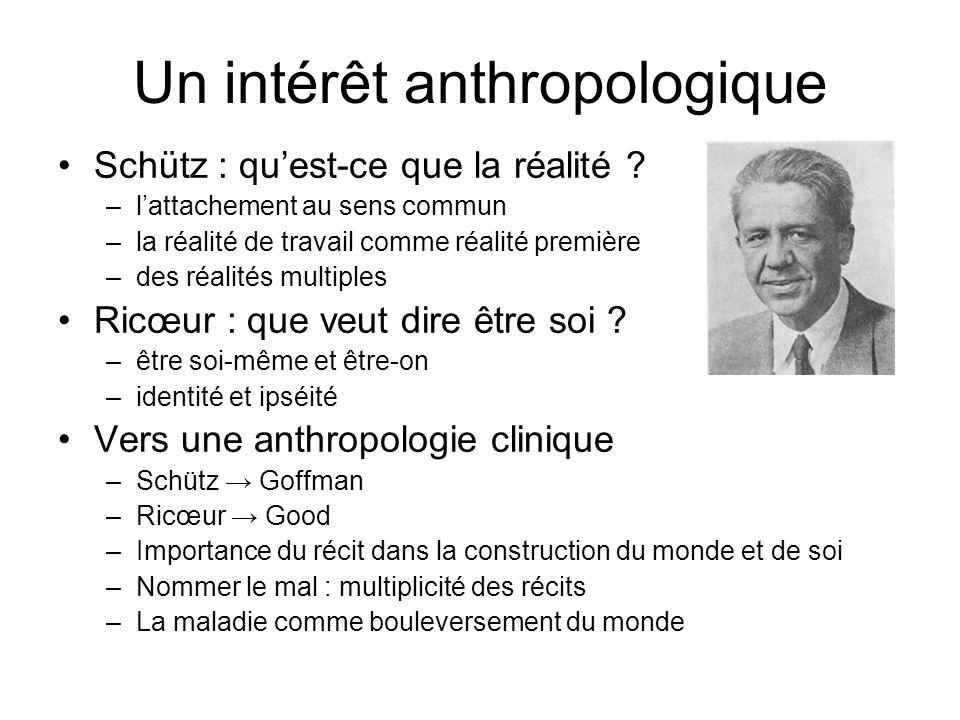 Un intérêt anthropologique Schütz : quest-ce que la réalité ? –lattachement au sens commun –la réalité de travail comme réalité première –des réalités