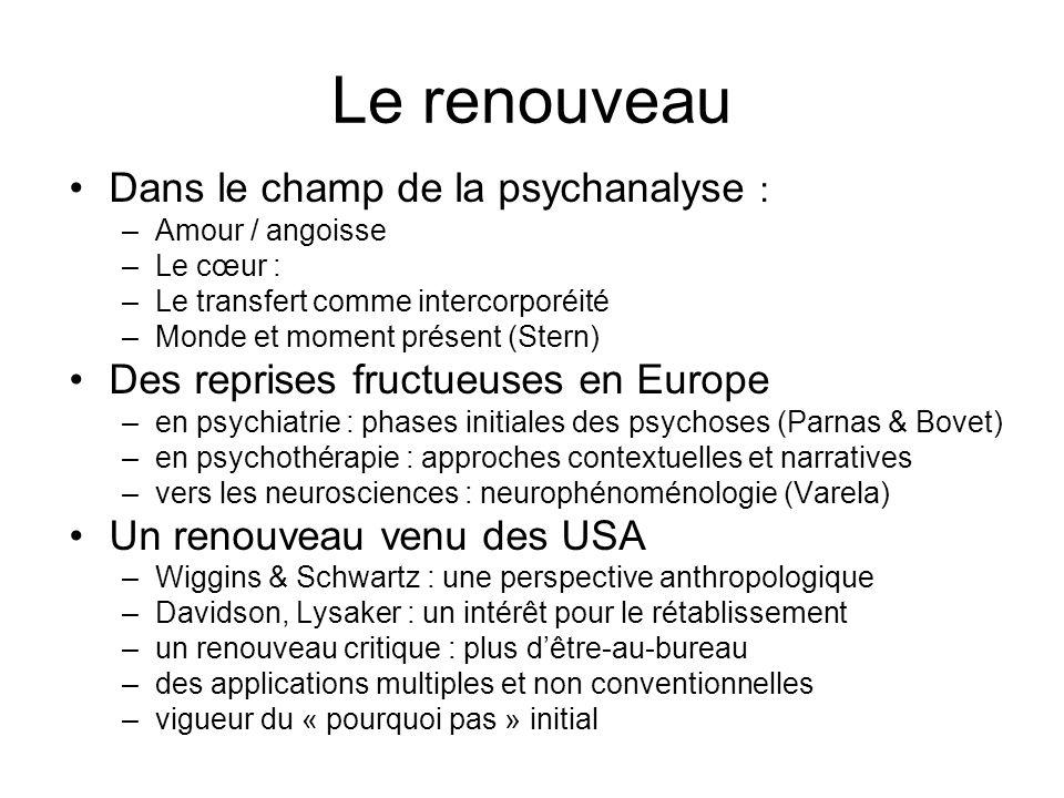 Le renouveau Dans le champ de la psychanalyse : –Amour / angoisse –Le cœur : –Le transfert comme intercorporéité –Monde et moment présent (Stern) Des