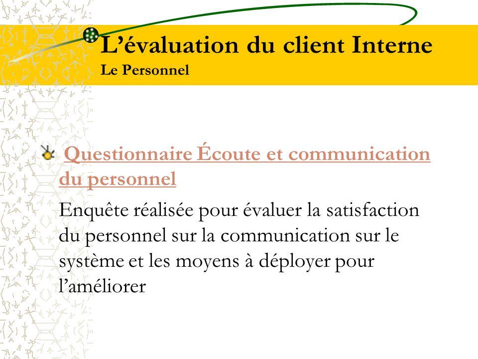 Lévaluation du client Interne Le Personnel Questionnaire Écoute et communication du personnel Questionnaire Écoute et communication du personnel Enquê