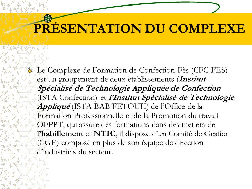 PRÉSENTATION DU COMPLEXE Le Complexe de Formation de Confection Fès (CFC FES) est un groupement de deux établissements (Institut Spécialisé de Technol
