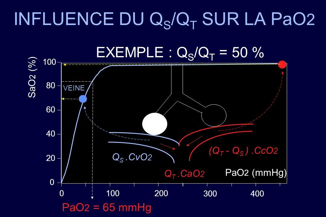 INFLUENCE DU Q S /Q T SUR LA PaO 2 EXEMPLE : Q S /Q T = 50 % PaO 2 (mmHg) SaO 2 (%) 0 20 40 60 80 100 0 200 VEINE 300400 PaO 2 = 65 mmHg Q S.CvO 2 (Q