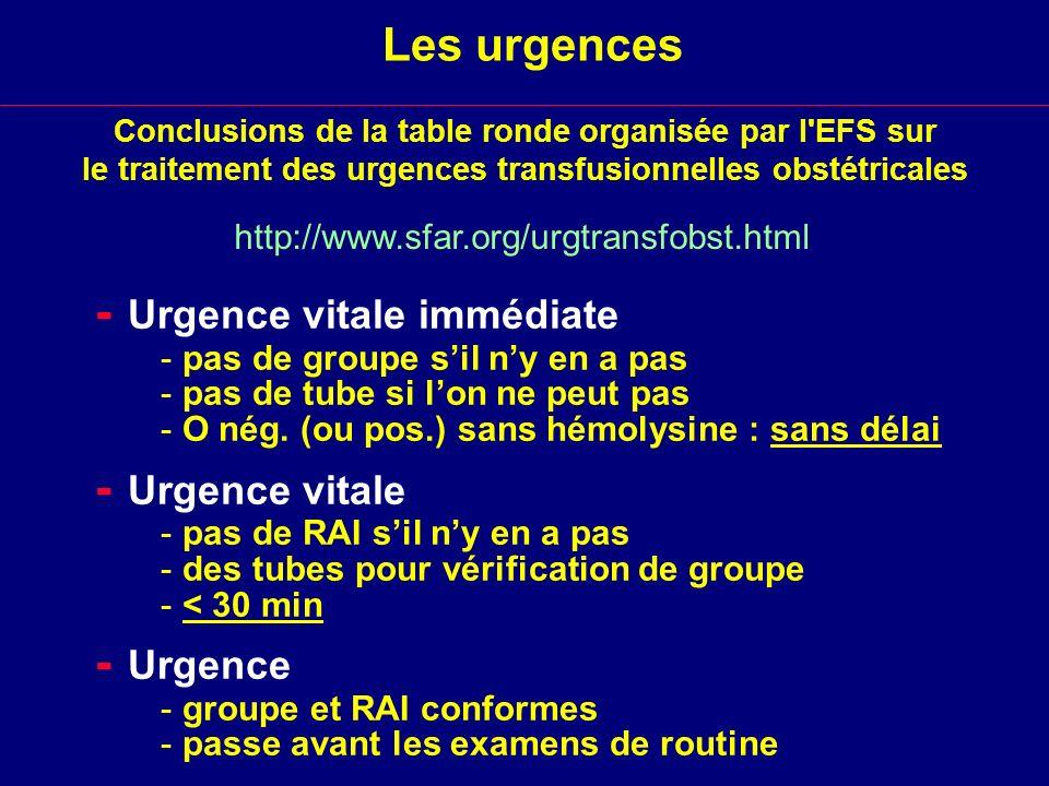 Les urgences - Urgence vitale immédiate - pas de groupe sil ny en a pas - pas de tube si lon ne peut pas - O nég. (ou pos.) sans hémolysine : sans dél