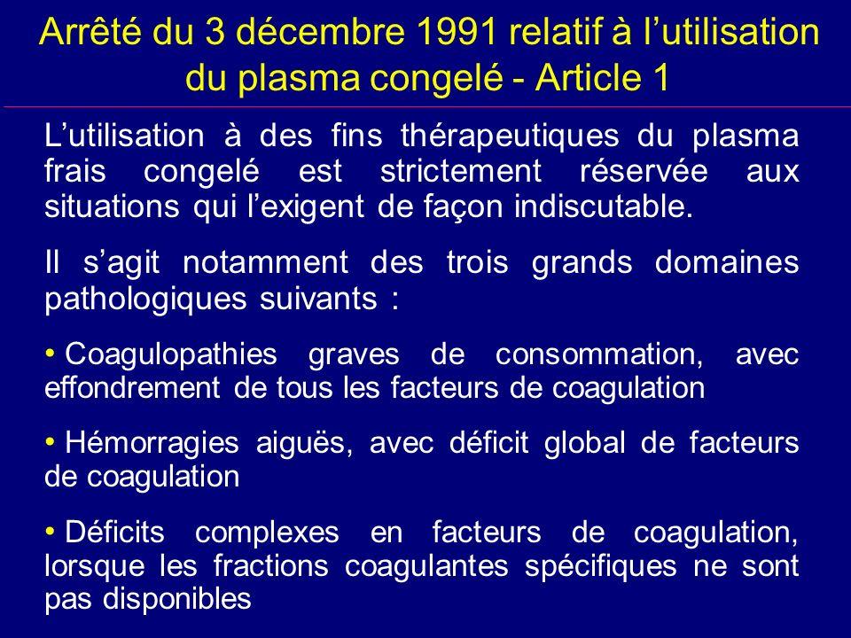 Arrêté du 3 décembre 1991 relatif à lutilisation du plasma congelé - Article 1 Lutilisation à des fins thérapeutiques du plasma frais congelé est stri