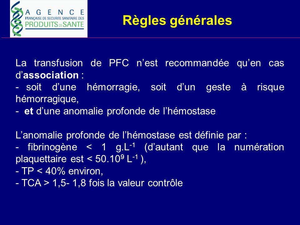 Règles générales La transfusion de PFC nest recommandée quen cas dassociation : - soit dune hémorragie, soit dun geste à risque hémorragique, - et dun