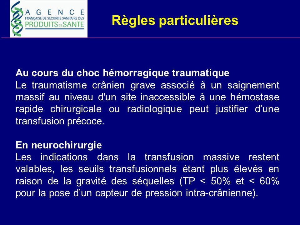 Règles particulières Au cours du choc hémorragique traumatique Le traumatisme crânien grave associé à un saignement massif au niveau d'un site inacces