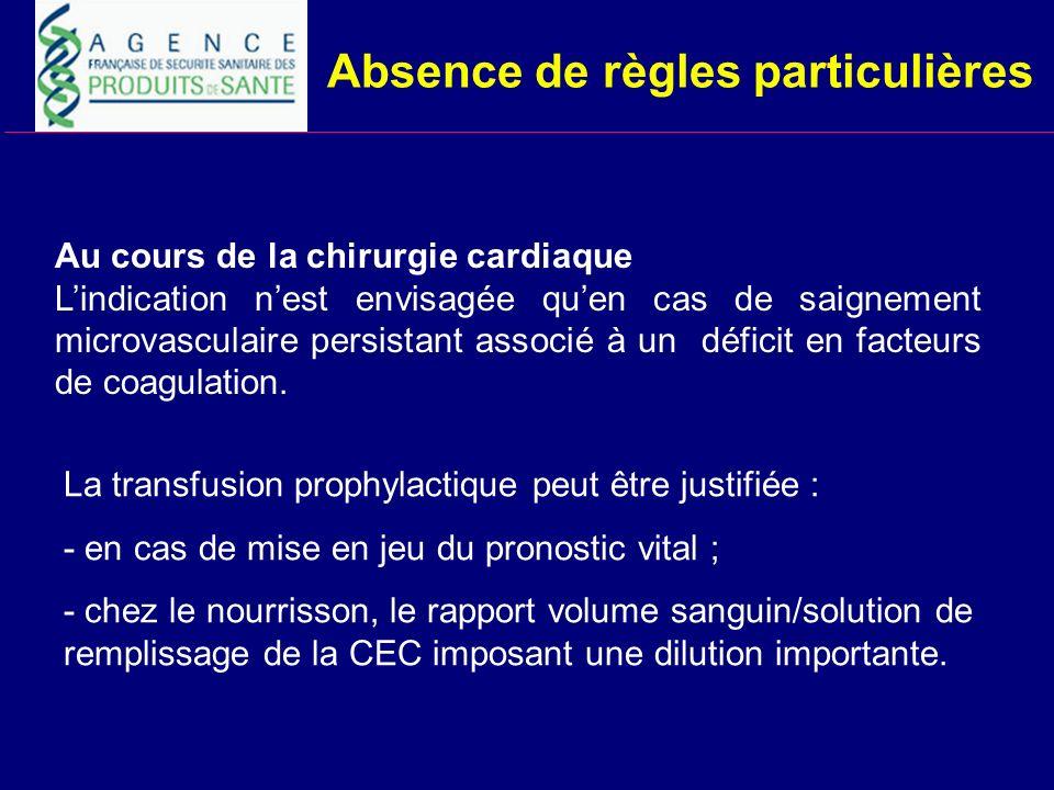 Absence de règles particulières Au cours de la chirurgie cardiaque Lindication nest envisagée quen cas de saignement microvasculaire persistant associ
