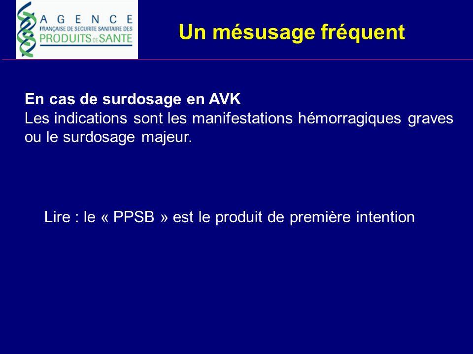 Un mésusage fréquent En cas de surdosage en AVK Les indications sont les manifestations hémorragiques graves ou le surdosage majeur. Lire : le « PPSB