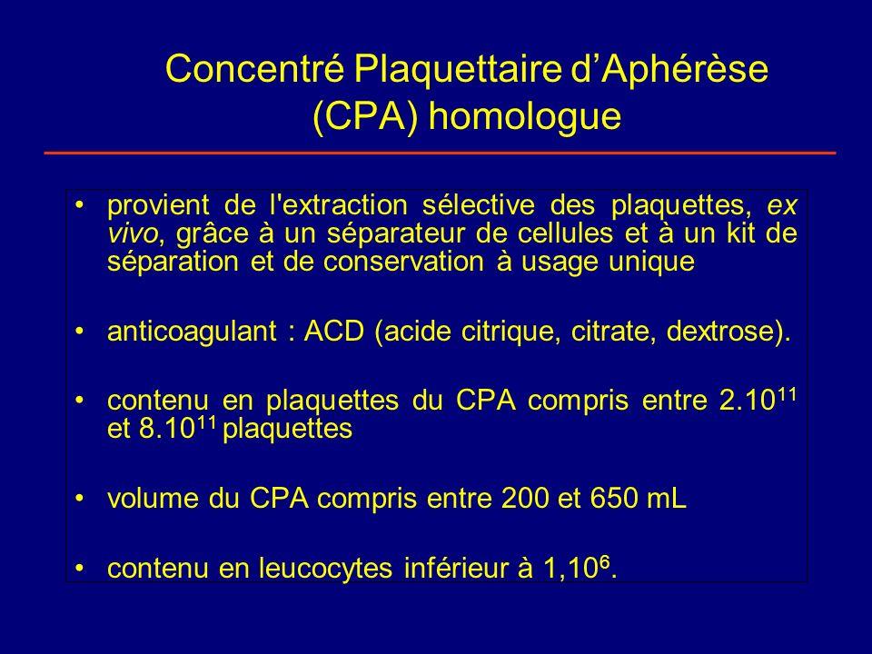 Concentré Plaquettaire dAphérèse (CPA) homologue provient de l'extraction sélective des plaquettes, ex vivo, grâce à un séparateur de cellules et à un