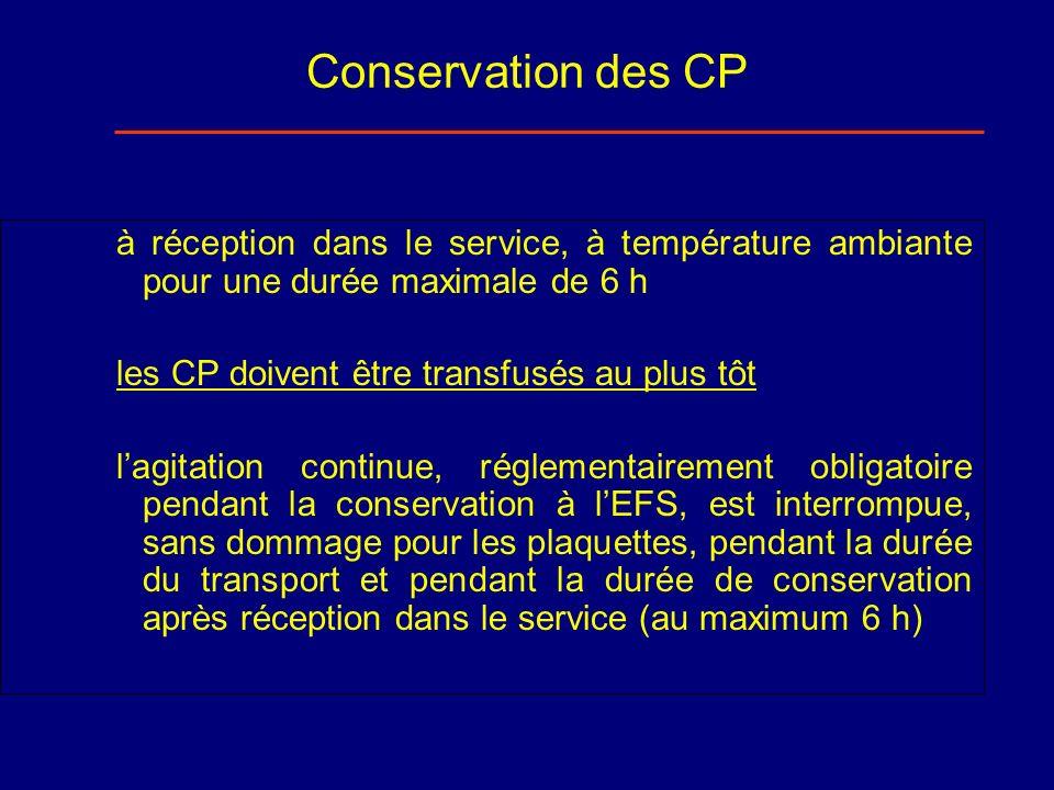 Conservation des CP à réception dans le service, à température ambiante pour une durée maximale de 6 h les CP doivent être transfusés au plus tôt lagi