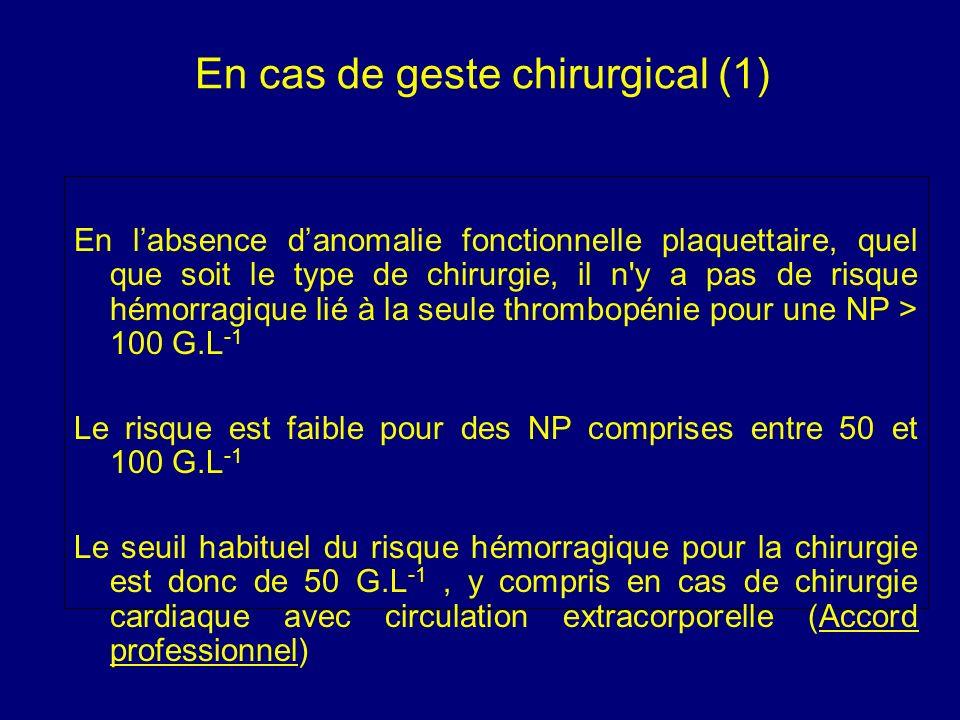 En cas de geste chirurgical (1) En labsence danomalie fonctionnelle plaquettaire, quel que soit le type de chirurgie, il n'y a pas de risque hémorragi