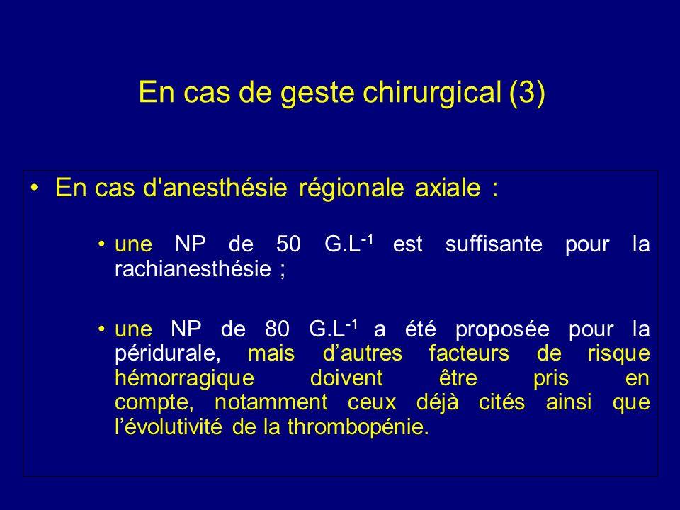 En cas de geste chirurgical (3) En cas d'anesthésie régionale axiale : une NP de 50 G.L -1 est suffisante pour la rachianesthésie ; une NP de 80 G.L -