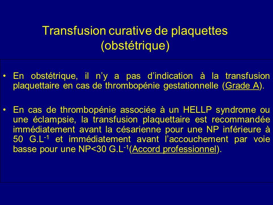 Transfusion curative de plaquettes (obstétrique) En obstétrique, il ny a pas dindication à la transfusion plaquettaire en cas de thrombopénie gestatio