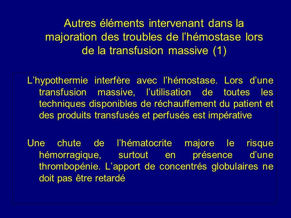 Autres éléments intervenant dans la majoration des troubles de lhémostase lors de la transfusion massive (1) Lhypothermie interfère avec lhémostase. L