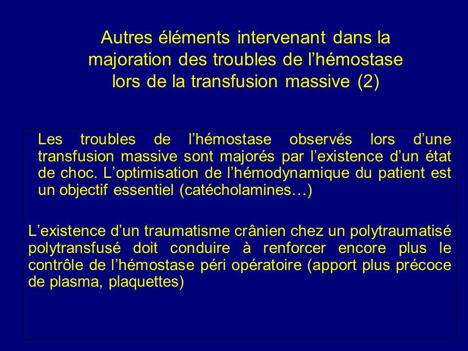 Autres éléments intervenant dans la majoration des troubles de lhémostase lors de la transfusion massive (2) Les troubles de lhémostase observés lors