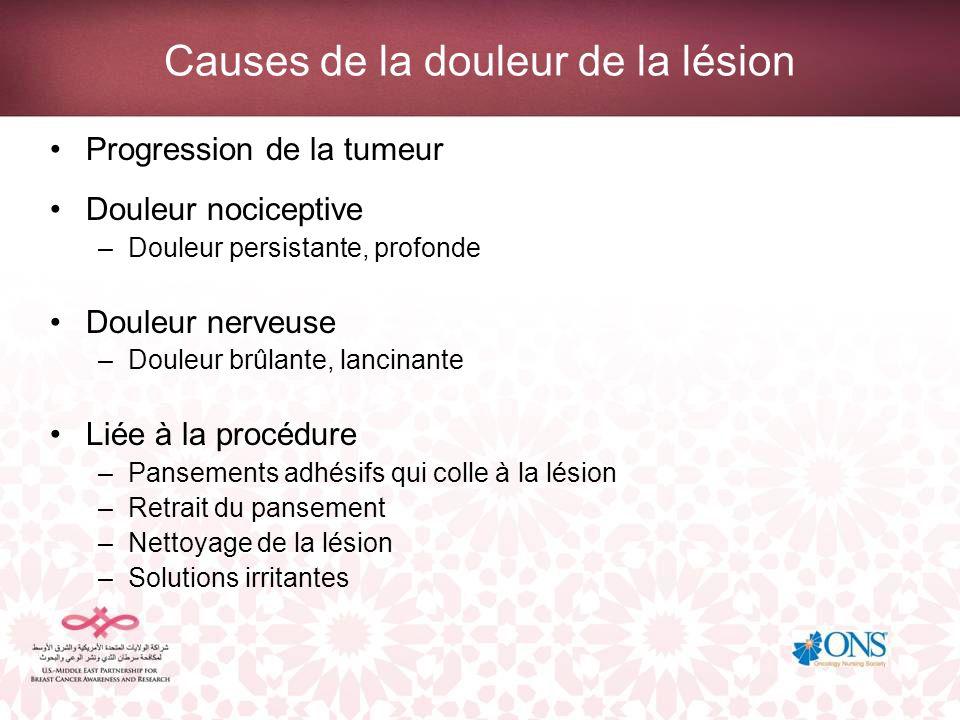 Causes de la douleur de la lésion Progression de la tumeur Douleur nociceptive –Douleur persistante, profonde Douleur nerveuse –Douleur brûlante, lanc