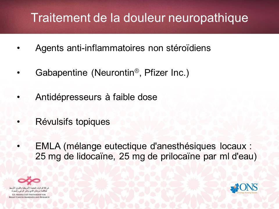 Traitement de la douleur neuropathique Agents anti-inflammatoires non stéroïdiens Gabapentine (Neurontin ®, Pfizer Inc.) Antidépresseurs à faible dose